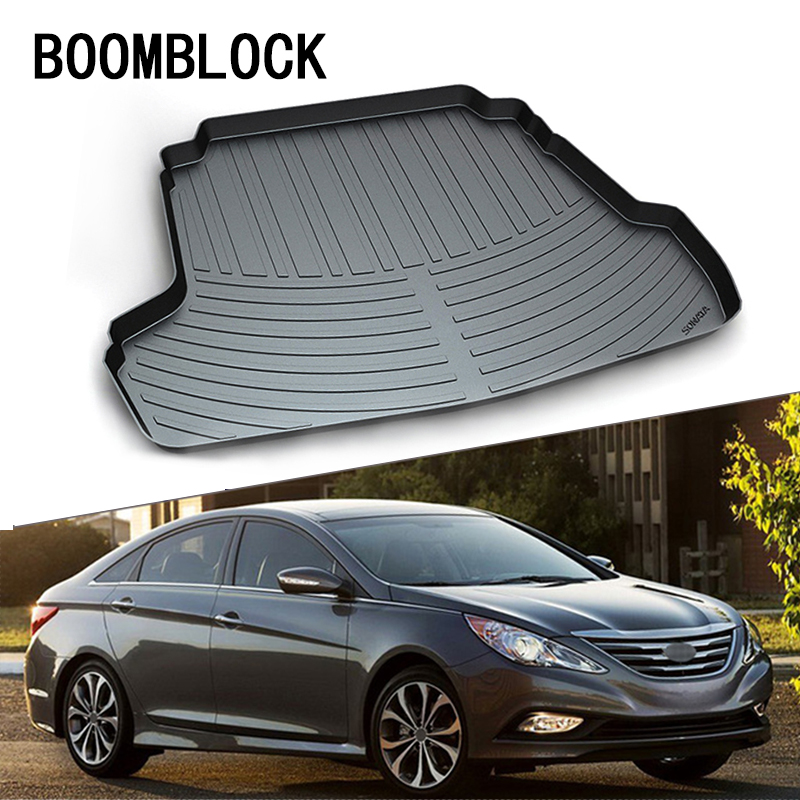 BOOMBLOCK For Hyundai Sonata 2010-2014 Waterproof Anti-slip Car Trunk Mat Tray Floor Carpet Pad Protector Auto Accessories boomblock for infiniti q50 q50l waterproof anti slip car trunk mat tray floor carpet pad protector auto accessories