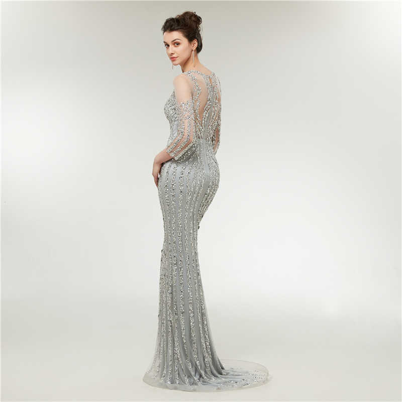 07e628c34c5 ... Luxury Sliver Long Evening Dress 2018 Mermaid Sparkly Sequined Beads  Long Sleeves Arabic Woman Formal Party ...