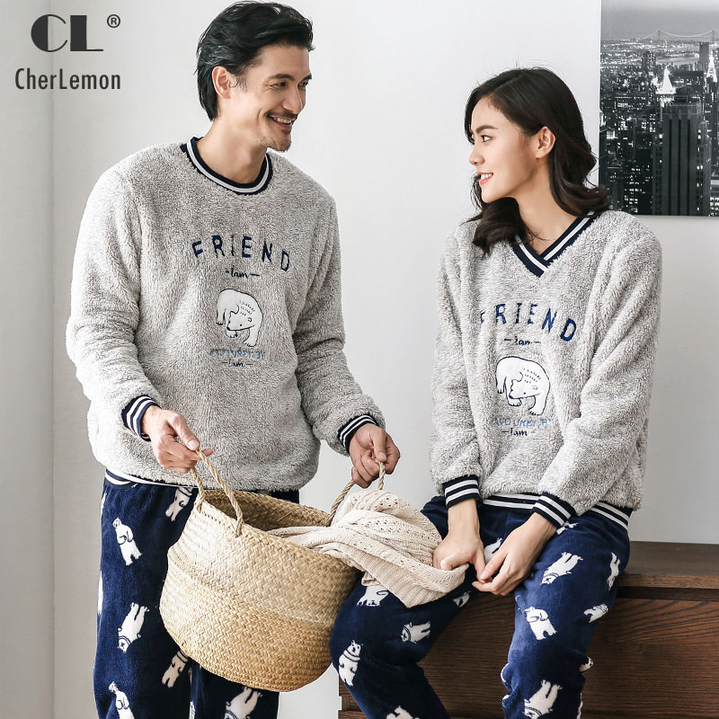 CherLemon Couple Winter Coral Fleece   Pajama     set   Men Thick Long Sleeve Pullover Cute Cartoon Animal Homewear Plus Size for Lovers