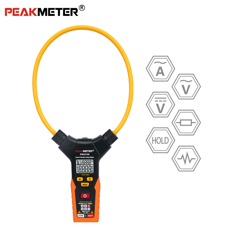 OFFICIAL PEAKMETER PM2019S Smart AC Digital Flexible Clamp Meter Multimeter Handheld Voltage Current Resistance Frequency