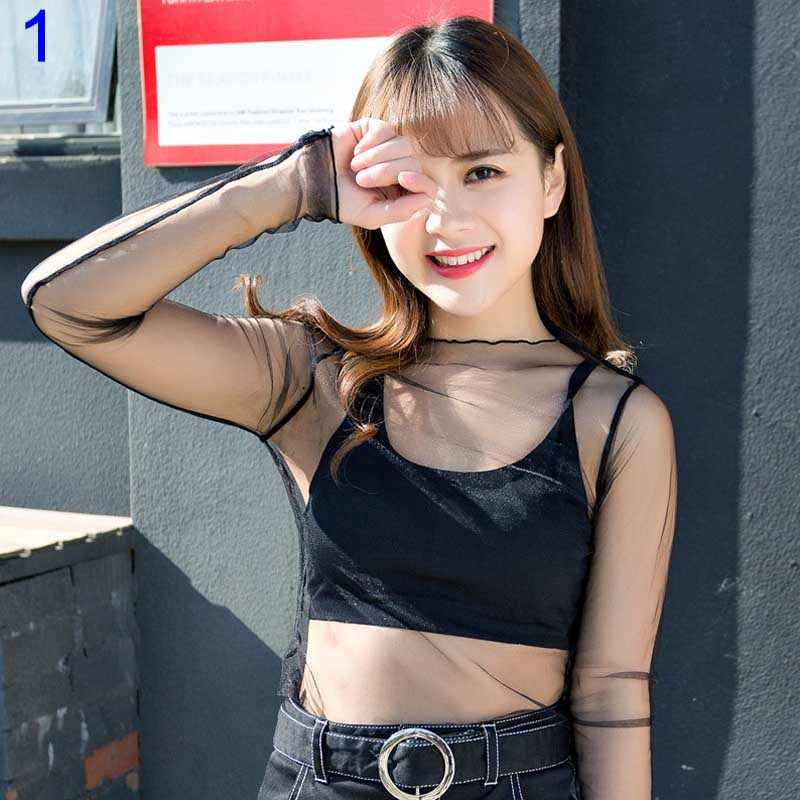 Sexy Women Blouse See Through Transparent Mesh Long Sleeve Sheer Blouses Shirt Tops Tee YA88