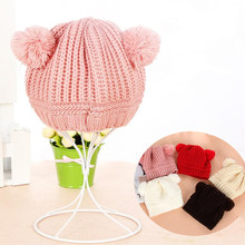 Children Hats Toddler Kids Winter Warm Knit baby hat Pom Pom Baby Beanie Boys Girls Cap for 0-2 T 2018 Chirstmas Gift(China)
