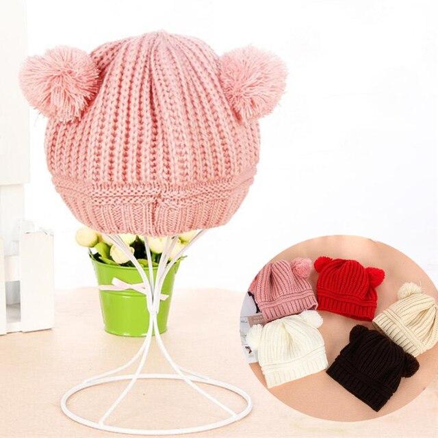 Children Hats Toddler Kids Winter Warm Knit baby hat Pom Pom Baby Beanie  Boys Girls Cap for 0-2 T 2018 Chirstmas Gift c8b05acbd05