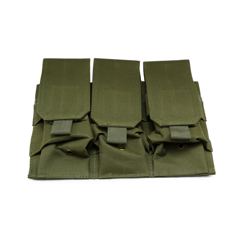 Airsoft Molle Tactical Molle Triple <font><b>Magazine</b></font> Pouch Belt Clip Triple <font><b>M4</b></font> AR 5.56 .223 Mag Pouches Hunting Pistol Handgun 3 Pouches image