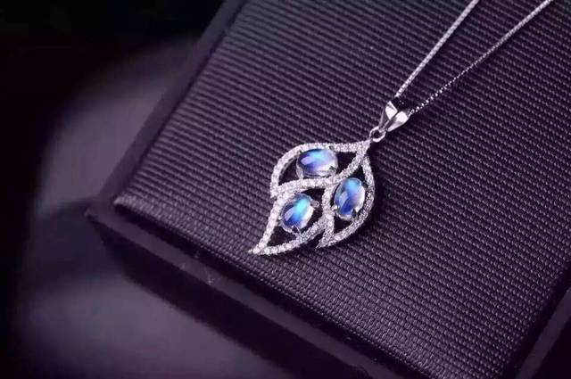 natural blue moonstone stone pendant 925 Sterling silver Natural gemstone Pendant Necklace trendy big Leaves women girl  jewelry