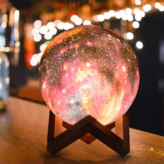 Dropship 15CM Moon Lamp 3D Print Star Galaxy Light Colorful Change Touch USB Charging Led Home Decoration Baby Night Lights Gift 4