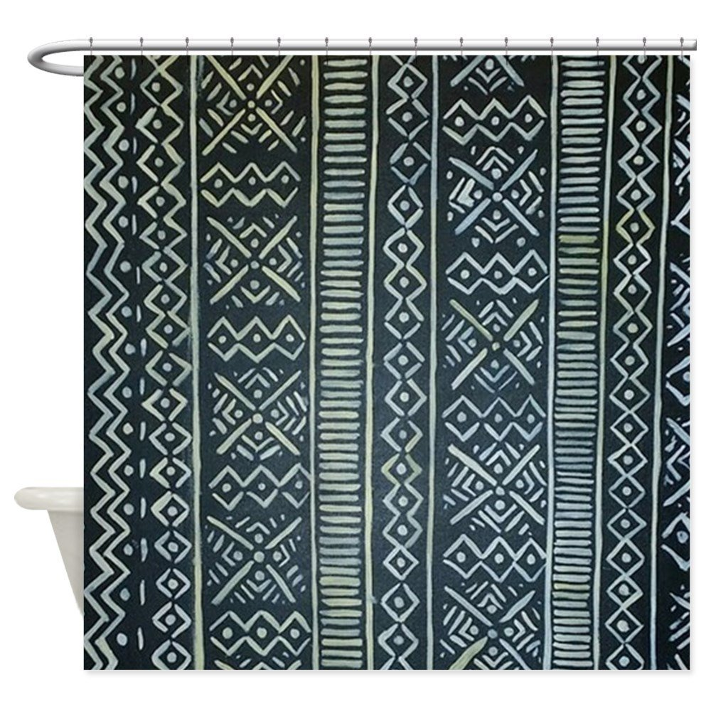 Mud Cloth Inspired Decorative Fabric Shower Curtain Waterproof Polyester Fabric 8 Sizes Shower Curtain 12 Hooks