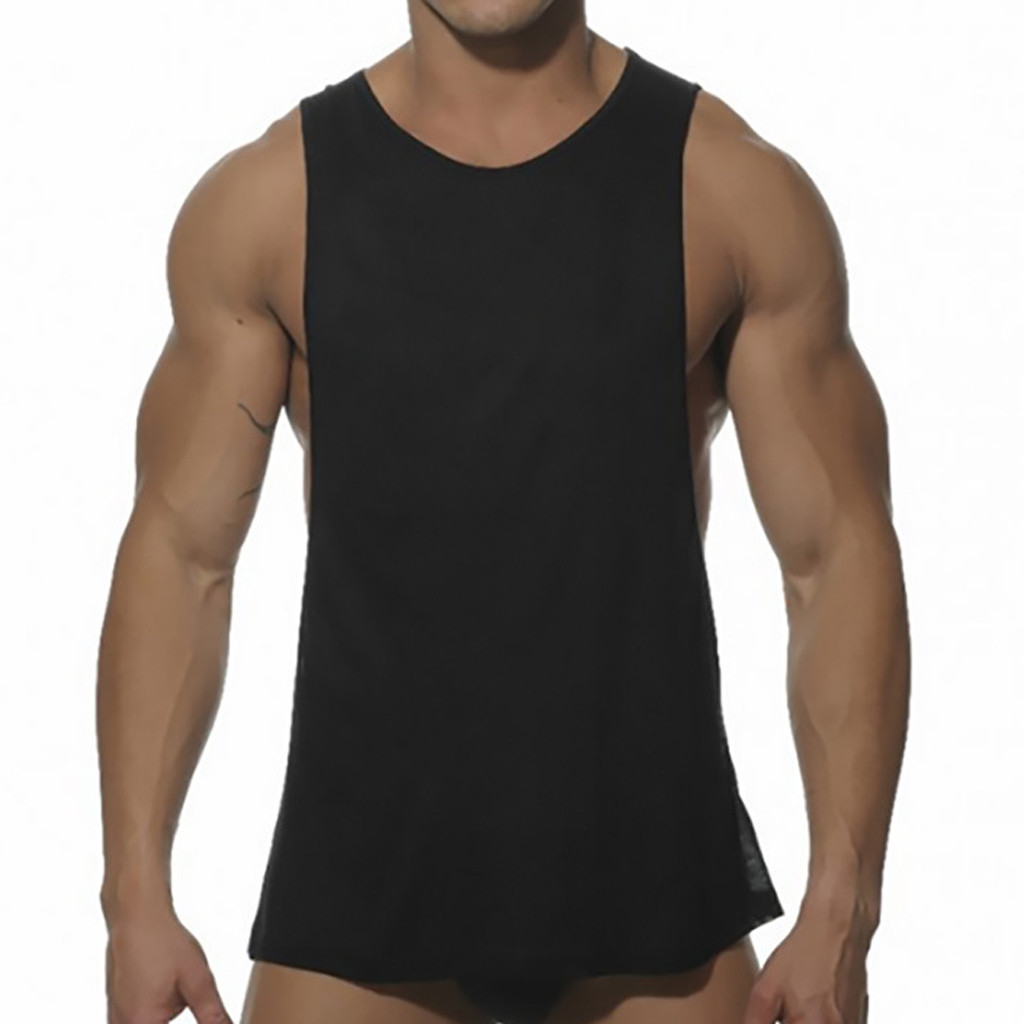 Men Tank Top Fashion Workout Sleeveless Solid Zipper Sports Large Open-Forked Male Shirt Tops