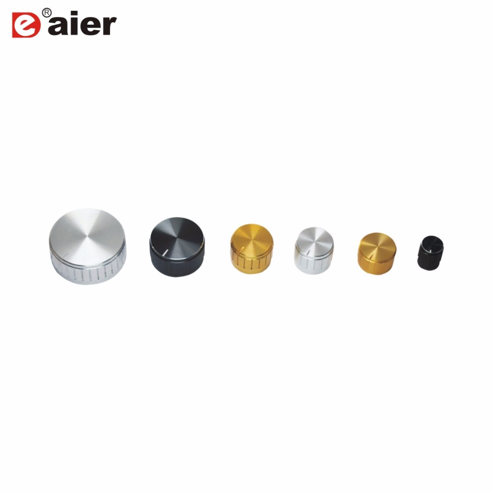 100PCS Aluminum Alloy Knob With 6mm Teeth Knurl Shaft Hole Diameter 15X17mm 17X17mm 30X17mm Size For Potentiometer