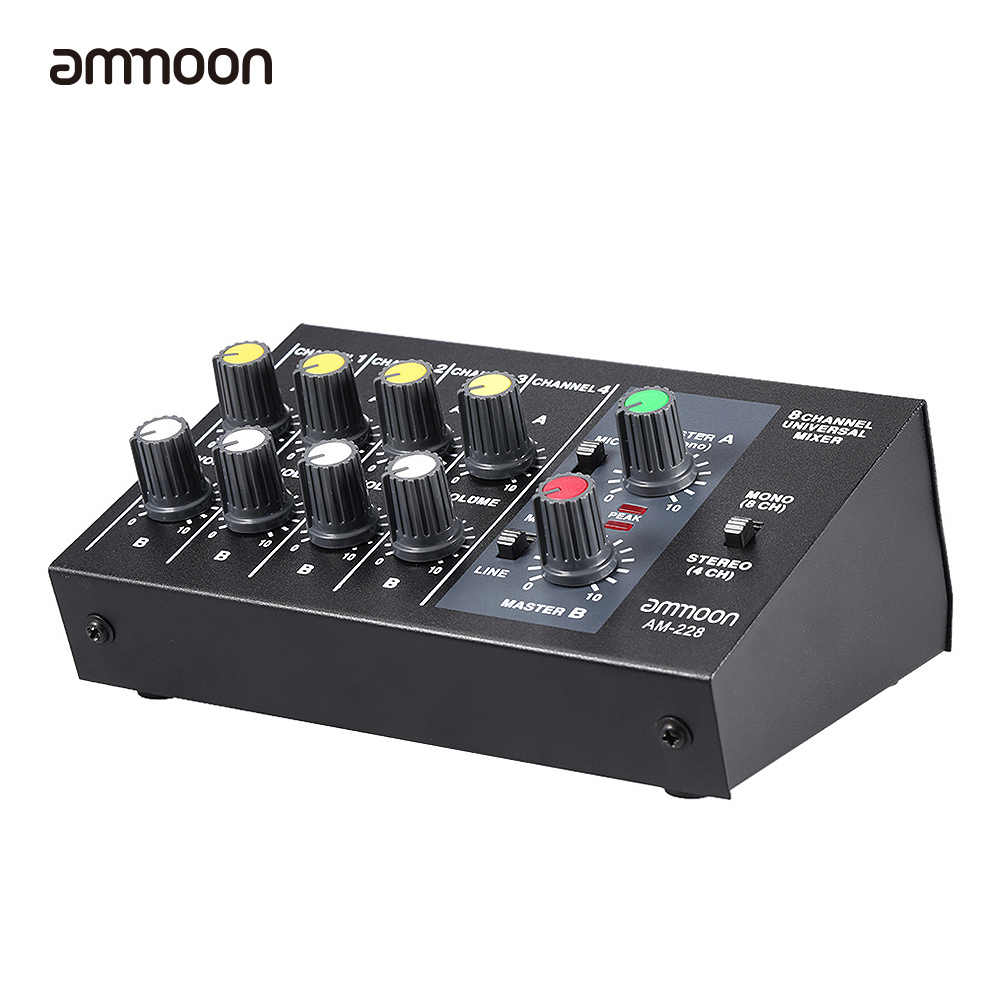Ammoon AM-228 קול מיקסר קומפקטי נמוך רעש 8 ערוצים מתכת מונו סטריאו אודיו קול מיקסר עם כוח מתאם כבל