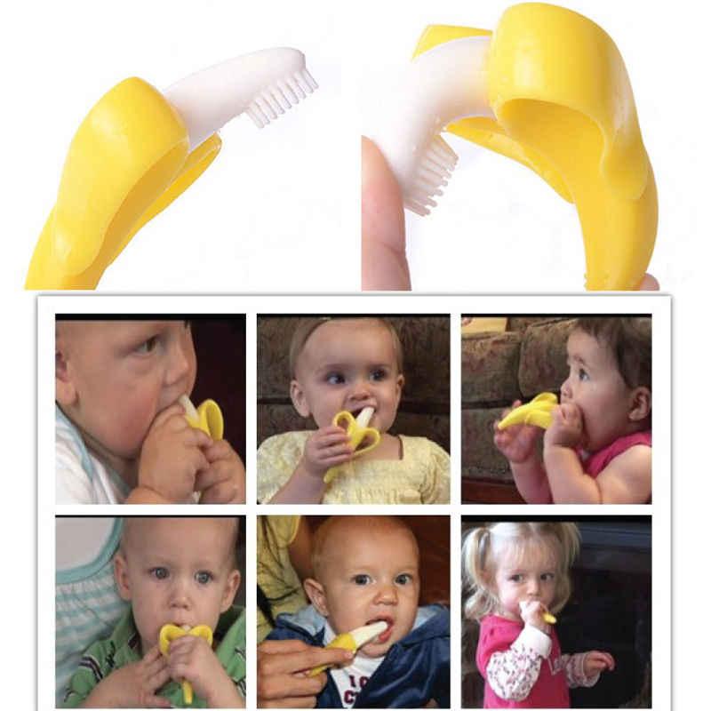 Cepillos dentales de entrenamiento BPA de silicona para bebé forma de plátano seguro mordedor juguetes para morder regalo de anillo de dentición para bebés