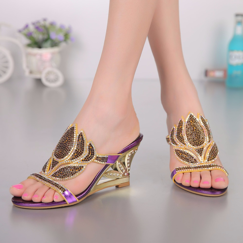 2017 Summer Fashion Sexy Girl Flower Rhinestone Slippers Wedges High Heels Sandals Women Slip-On Woman Party Wedding Shoes