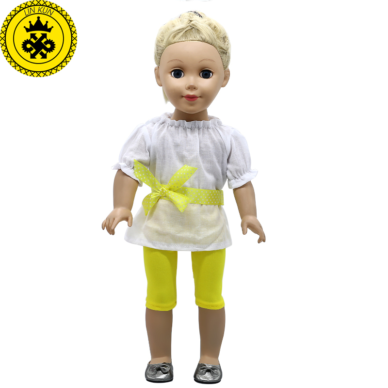 "White Short Sleeve T Shirt Fits 18/"" American Girl  Dolls"