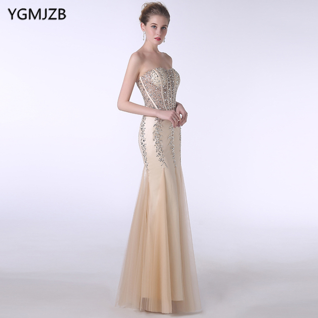 0a877b3999fdc Elegant Champagne Evening Dresses Long 2018 Mermaid Sweetheart Beaded  Crystal Backless Prom Dress Women Formal Prom Evening Gown