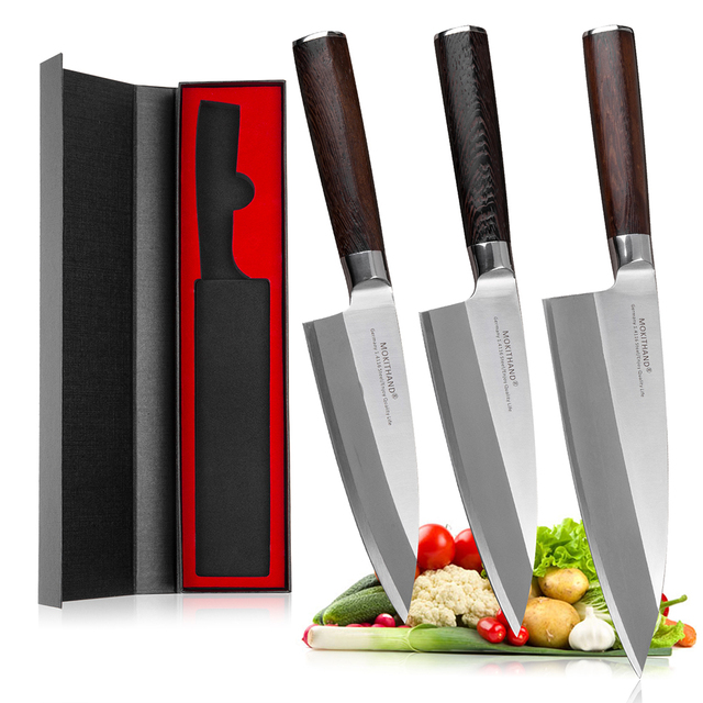 Mokitmanual facas de enchimento de peixe, facas de aço inoxidável deba de alto carbono da alemanha 1.4116 para enfilar sushi salmon