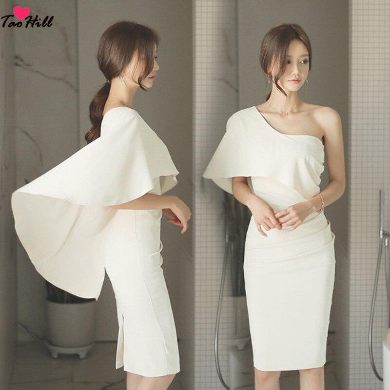 TaoHill One Shoulder Beige Cocktail Dresses Women's Cheap Ruffles Sheath Back Slit Cut-out Plus Size Modest Party Dresses