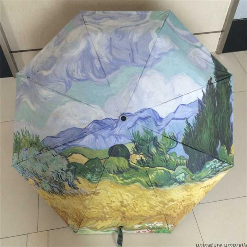 Oil Painting Champaign Umbrella Anti-UV Brand Personalized Rain 3 Folding Women Ladies Manual Umbrellas Black Coating
