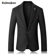KOLMAKOV 2017 autumn new arrival men's fashion suit,men casual Solid color cotton blazers,single button jacket blazer,size M-5XL