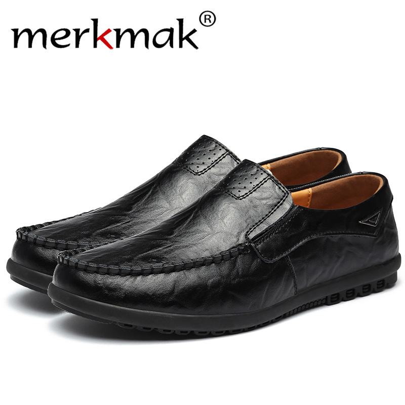 Merkmak Genuine Leather Men Casual Shoes Luxury Brand Mens Loafers Moccasins Breathable Slip On Black Driving Shoes Plus Size