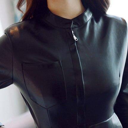 De 2018 Femmes Longues Ayunsue En Mince Chaud Cuir Lx1474 Automne Pu Black Femelle Printemps Hanche À Robe Nouveau Robes Moulante Manches Noir xqggXaFwt4