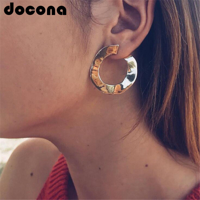 docona Vintage Gold Punk Twisted Round Stud Earrings for Women Irregular Curved Circle Studs Earring Statement Ear Brinco 5682 золотые серьги по уху