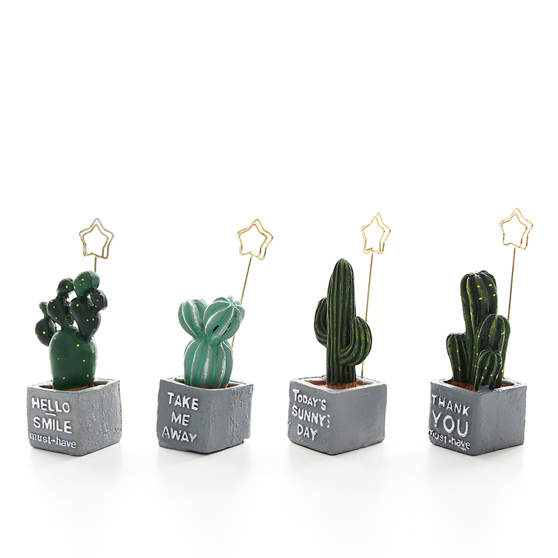 Mini cactus holder for photo card memo note clip Resin plant decoration Stationery Office accessories School supplies A6972 2018 pet transparent sticky notes and memo pad self adhesiv memo pad colored post sticker papelaria office school supplies