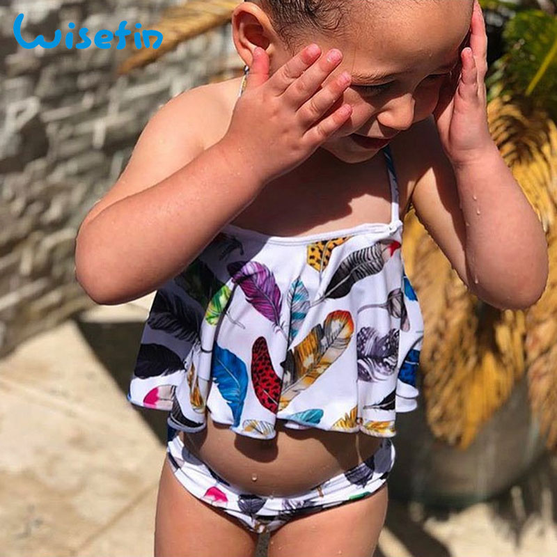 Wisefin Baby Feather Swimsuit 2018 Girl Print Beachwear Girl Bikini 2pcs Kid Swimwear Fashion Baby Bathing Suit Todller Swimsuit