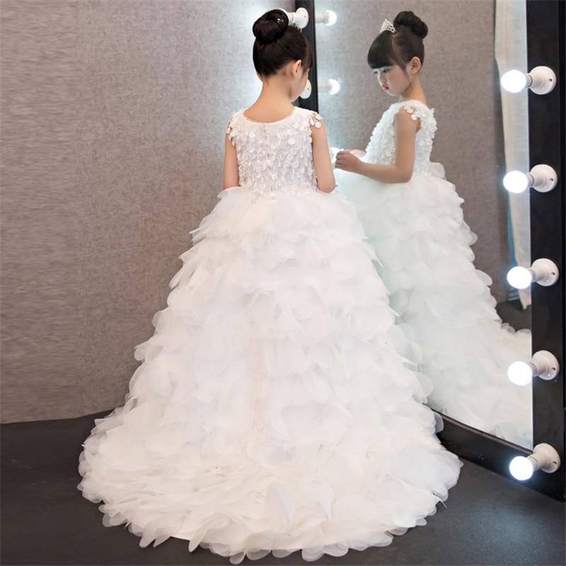 2017 New Summer Luxury Baby Girls Birthday Party Dress Evening Wear Long Tail Girls Clothes Kids Elegant Feathers Wedding Dress набор mattel ever after high дневник сокровенные секреты