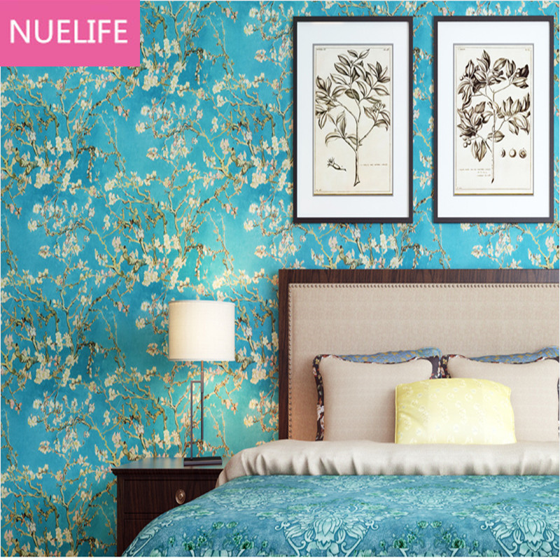 0.53x10 Meter Country style blue almond blossom pattern wallpaper bedroom living room  kids room backdrop non-woven wallpaper