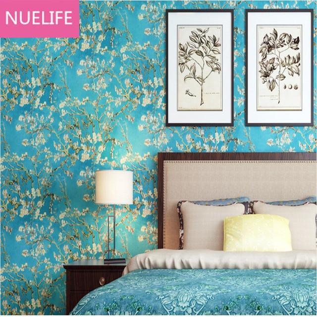 US $69.99 |0,53x10 Meter Land stil blau almond blossom muster tapete  schlafzimmer wohnzimmer kinderzimmer hintergrund vlies tapete in 0,53x10  Meter ...