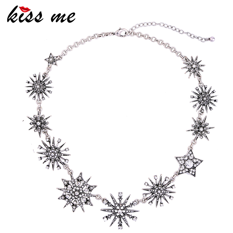 KISS ME Charming Silver Color Rhinestone Snowflake Necklaces for Women 2017 Choker Necklace Fashion Jewelry graceful rhinestone snowflake pendant necklace for women