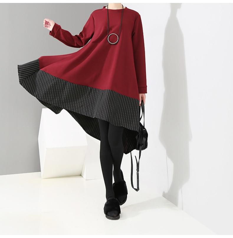 HTB15nRwXIvrK1Rjy0Feq6ATmVXah - [EAM] 2019 New Spring  Winter Round Neck Long Sleeve Red Striped Irregular Printed Stitch Big Hemline Dress Women Fashion JK557