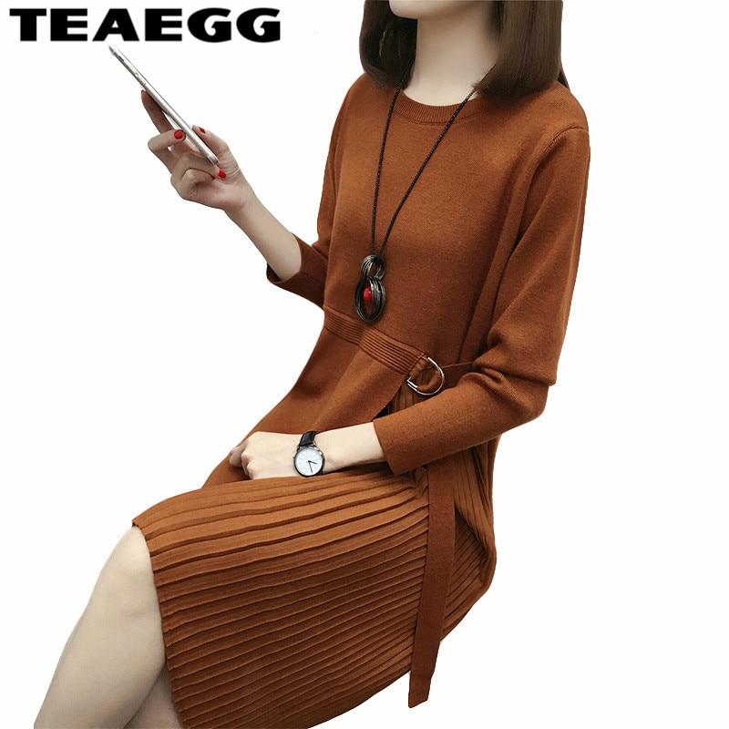 TEAEGG Knitted Dress Loose Vestido Casual Women Spring Dress 2018 Long Sleeve Sweater Brown Womens Dresses Large Sizes AL774 вечернее платье mermaid dress vestido noiva 2015 w006 elie saab evening dress