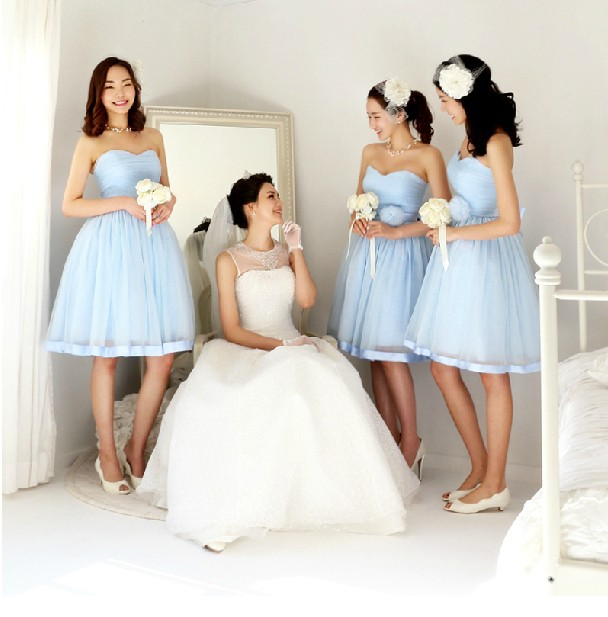 Pastel Orange Pink Bridesmaid Dresses Light Blue Chiffon Short Design Y Elegant Juniors Dress High Qulity In From