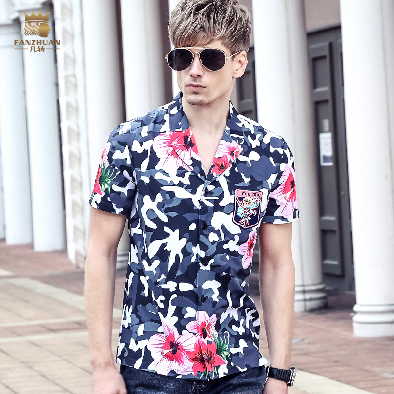 Fanzhuan Free Shipping New fashion casual 2017 male mens short sleeved summer Slim printed shirt blouse hit color thin 713038