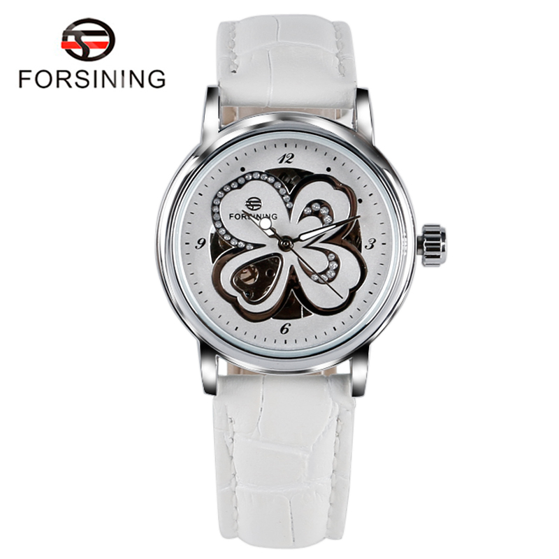 2017 Hot FORSINING Wrist Watch Women Luxury Auto Mechanical Leather Four-leaf Lucky Clover Women's Dress Casual Watches W18070 casual watch 2017 women s four leaf clover floral crystal skeleton auto mechanical wristwatch with box free ship