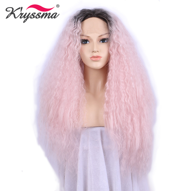 Pink Wig Dark Roots Ombre Synthetic Lace Front Wig Long Curly Wigs for Women  Party Halloween 24