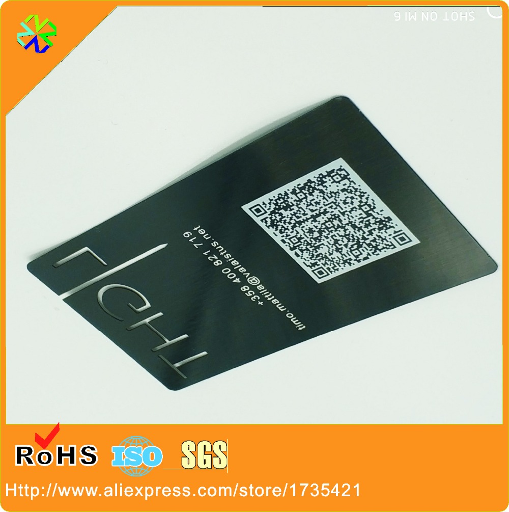 Laser out black metal business cards with qr codethickness 03mm laser out black metal business cards with qr codethickness 03mm05mm08mm etc in business cards from office school supplies on aliexpress colourmoves