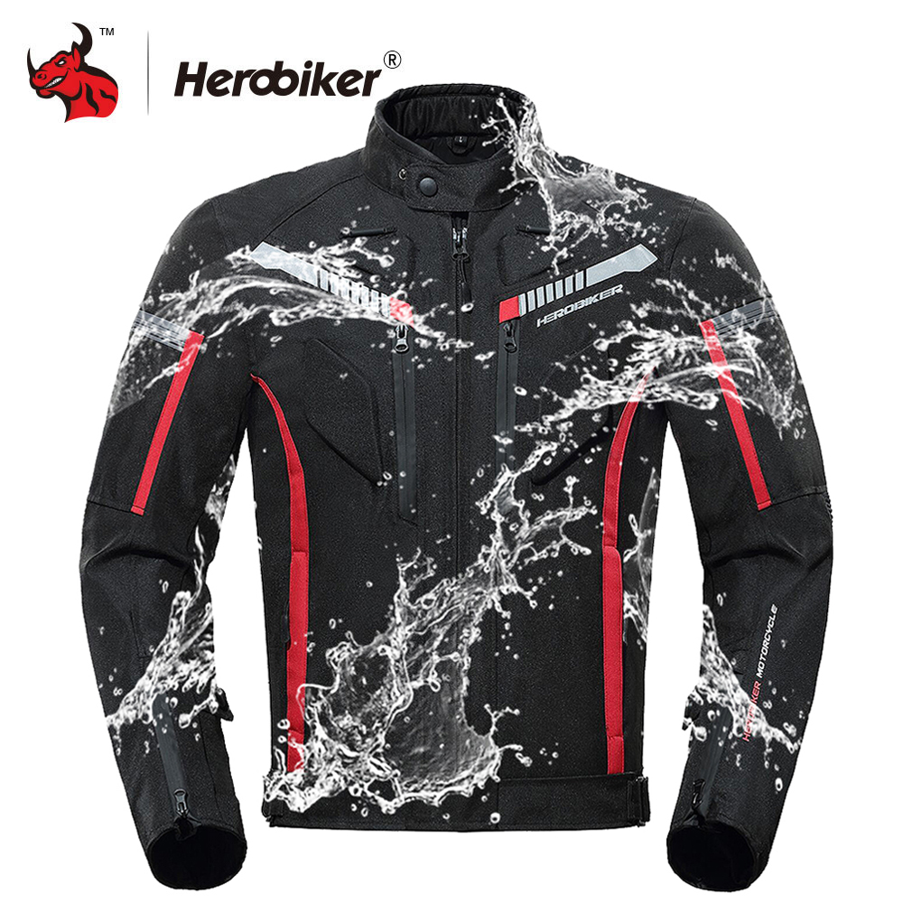 HEROBIKER Motorcycle Jacket Men Waterproof Moto Jacket Motorcycle Full Body Protective Gear Motorbike Riding Jacket Black