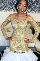 abiye gece elbisesi Fashionable Mermaid Evening Dresses Gold Appliqued Long Sleeve Prom Dress Party Gown