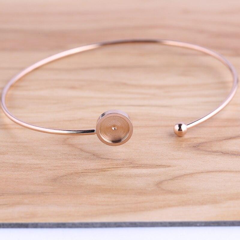 Onwear 5 pcs rose gold aço inoxidável pulseira de espaços em branco da base 8 milímetros configurações do painel frontal cabochão bangle pulseiras diy fazendo entregas