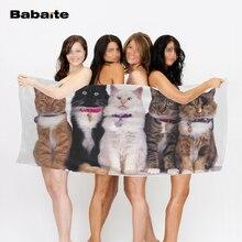 Babaite внимательный милые кошки полоса котенок мягкие полотенца Абсорбент Удобная быстрая сушка пляжное полотенце drap De Plage