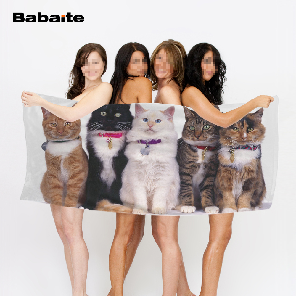 Babaite Attentive Cute Cats Band Kitten Soft Bath <font><b>Towels</b></font> Absorbent Comfortable Fast Drying Beach <font><b>Towel</b></font> Drap De Plage