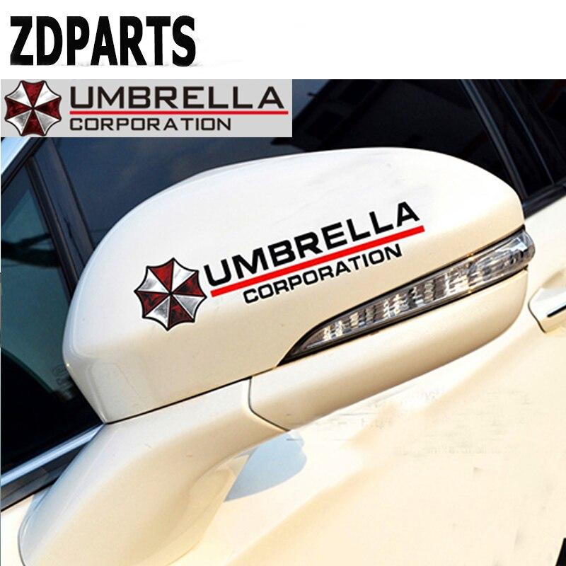 ZDPARTS 2X Car Umbrella Reflective Rear Mirror Stickers Decal For Ford Focus 2 3 Fiesta Mondeo Kuga Kia Rio Ceed Sportage 2017