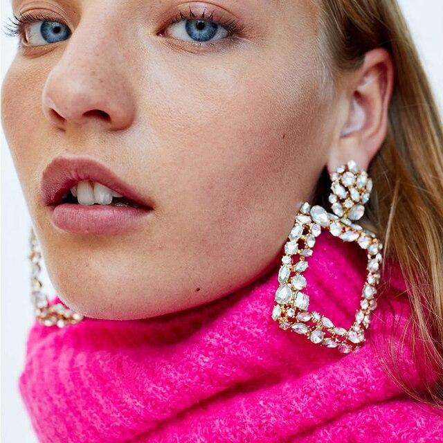 Dvacaman ZA Big Rectangle Crystal Drop Earrings Women Trendy 2018 Geometric Pend