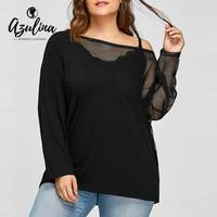 Azulinaプラスサイズ5xl薄手メッシュパネルバットウィングスリーブトップスtシャツ秋のtシャツ女性ブラックロングスリーブコットン新しいファッショントップ