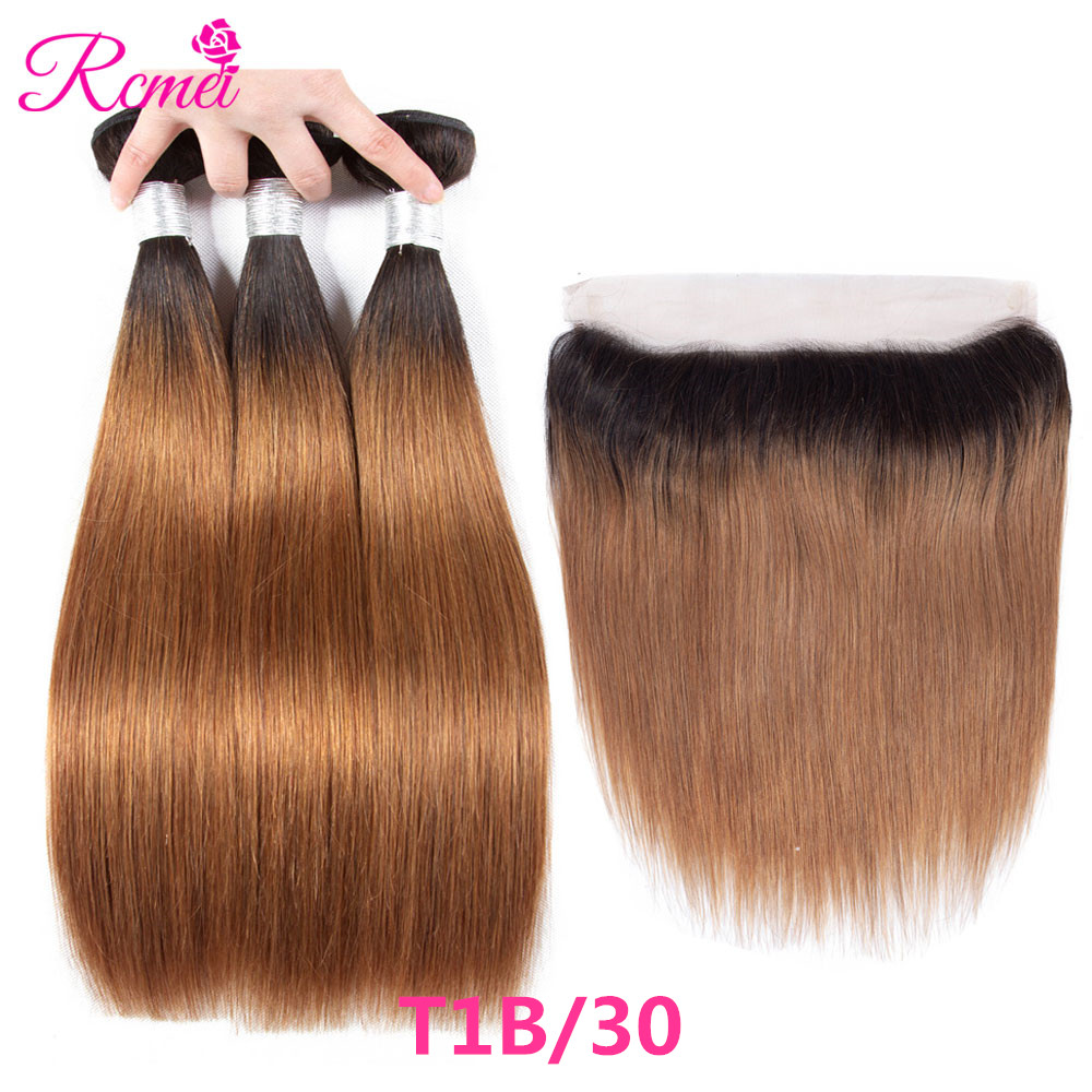 Human Hair Weaves Ombre Honey Blonde Brown Wine Red Colored Bundles Two Tone Dark Roots Brazilian Body Wave Hair Weave 3 Bundle Deal Nonremy Rcmei Hair Extensions & Wigs