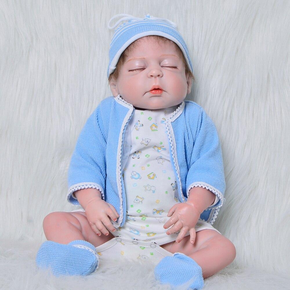 23 Inch Closed Eyes Reborn Dolls 57 cm Full Silicone Vinyl Newborn Doll Fashion Lifelike Boy Baby Toy For Kid Birthday Xmas Gift цена