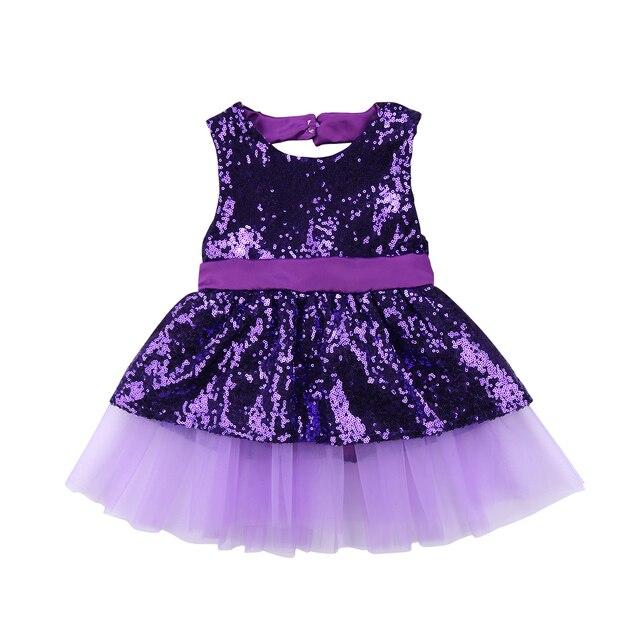 0e65283e4 Princess Kids Baby Girls Sequins Dress sleeveless Party birthday ...