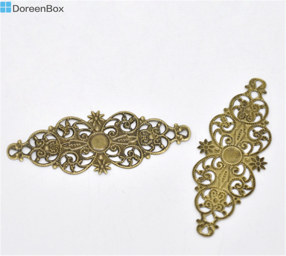 Дорин коробка Прекрасный 50 бронзовый тон филигрань цветочный шарф разъем 6,1×2,4 см (B13809)